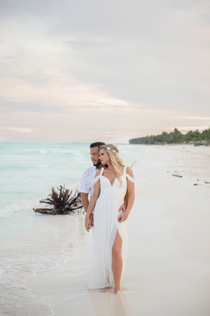 engagement photos of bride and groom in tulum