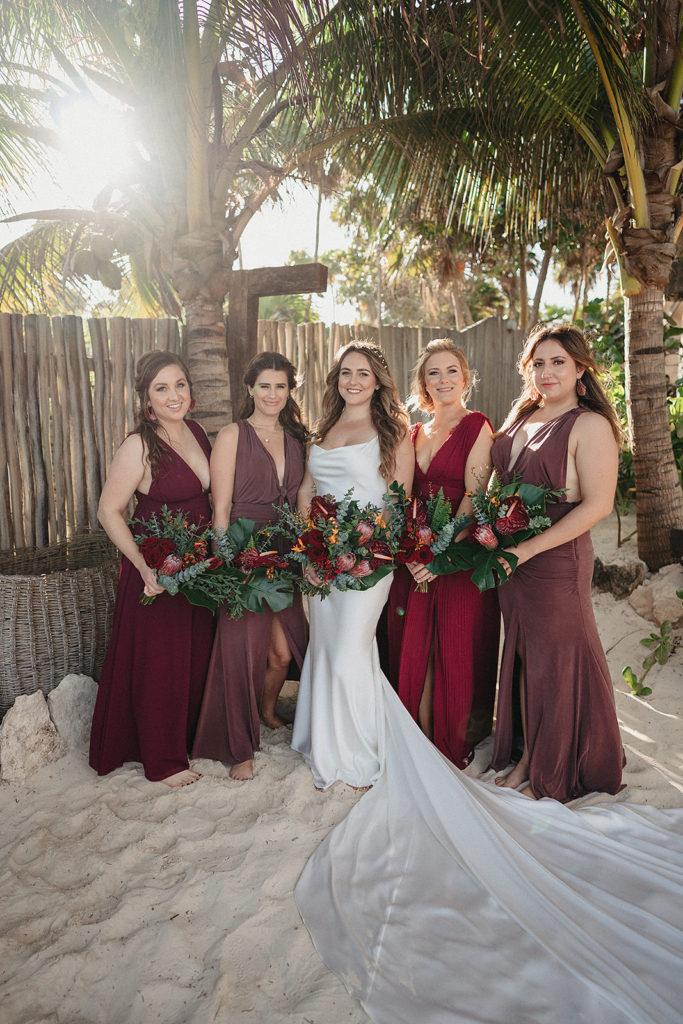 wine color bridesmaids