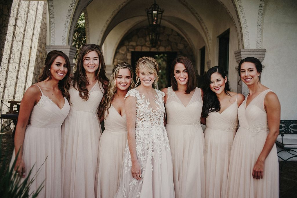 bridesmaids in nude and blush wedding